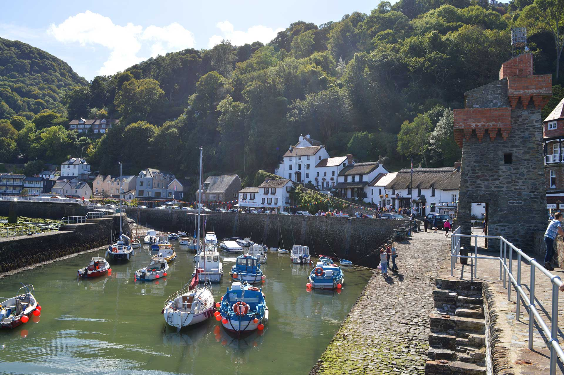 Lynmouth harbour and village. East Lyn House