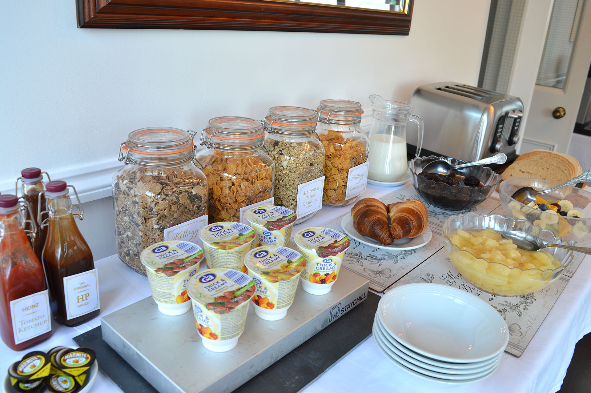 East Lyn House B&B continental breakfast buffet