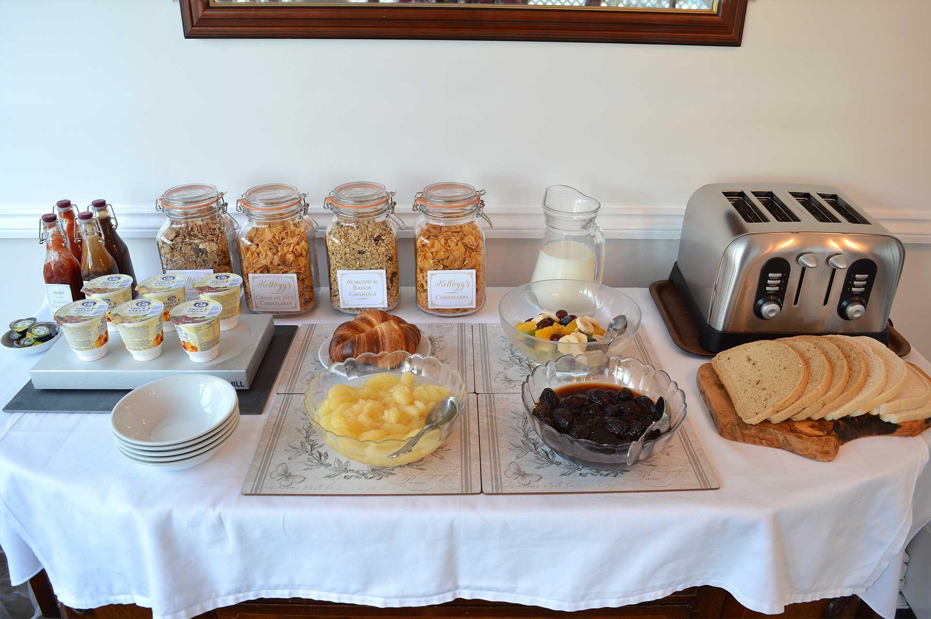 East Lyn House continental breakfast buffet