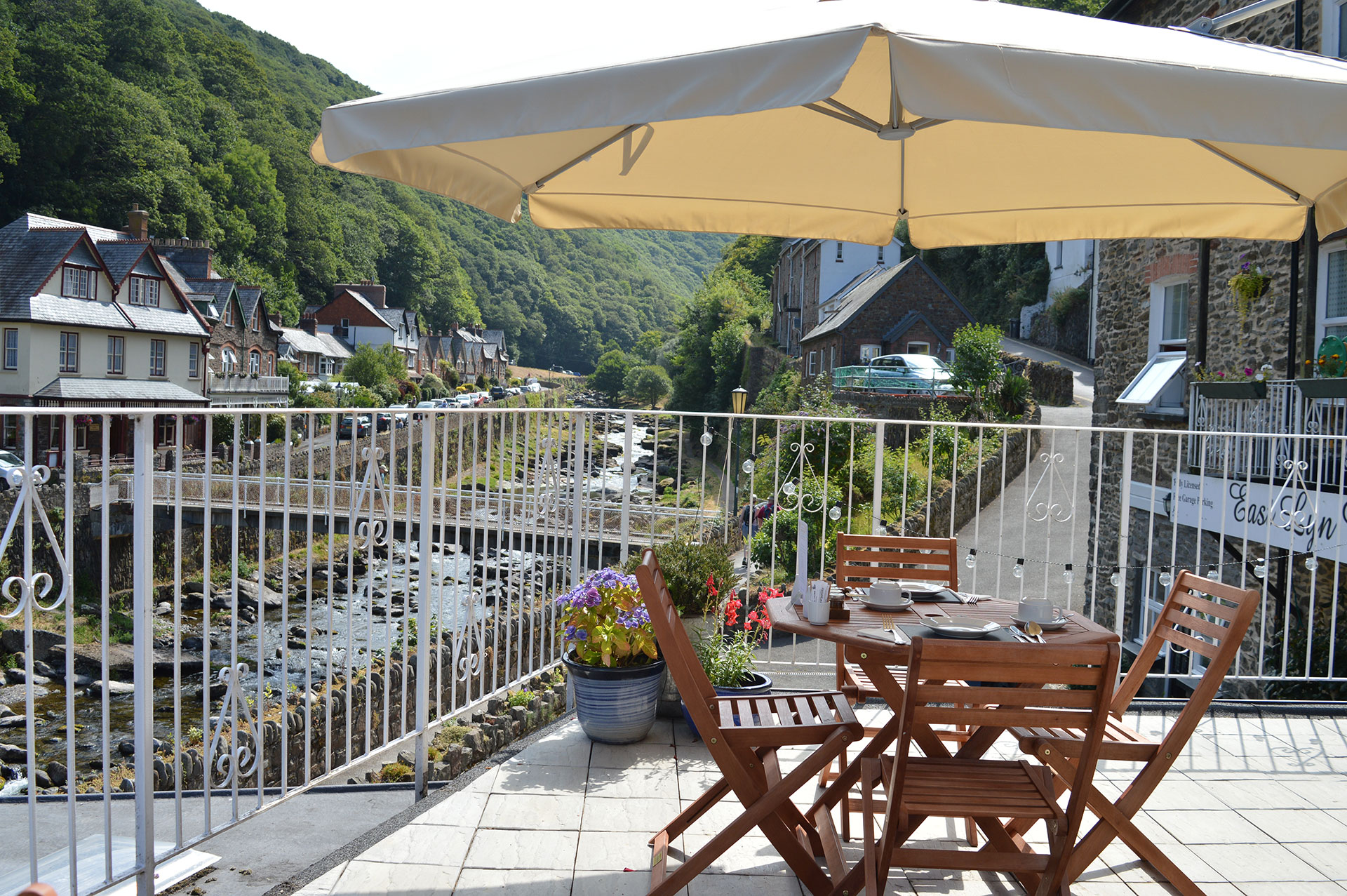 East Lyn House, Bed and Breakfast, breakfast on the riverside terrace