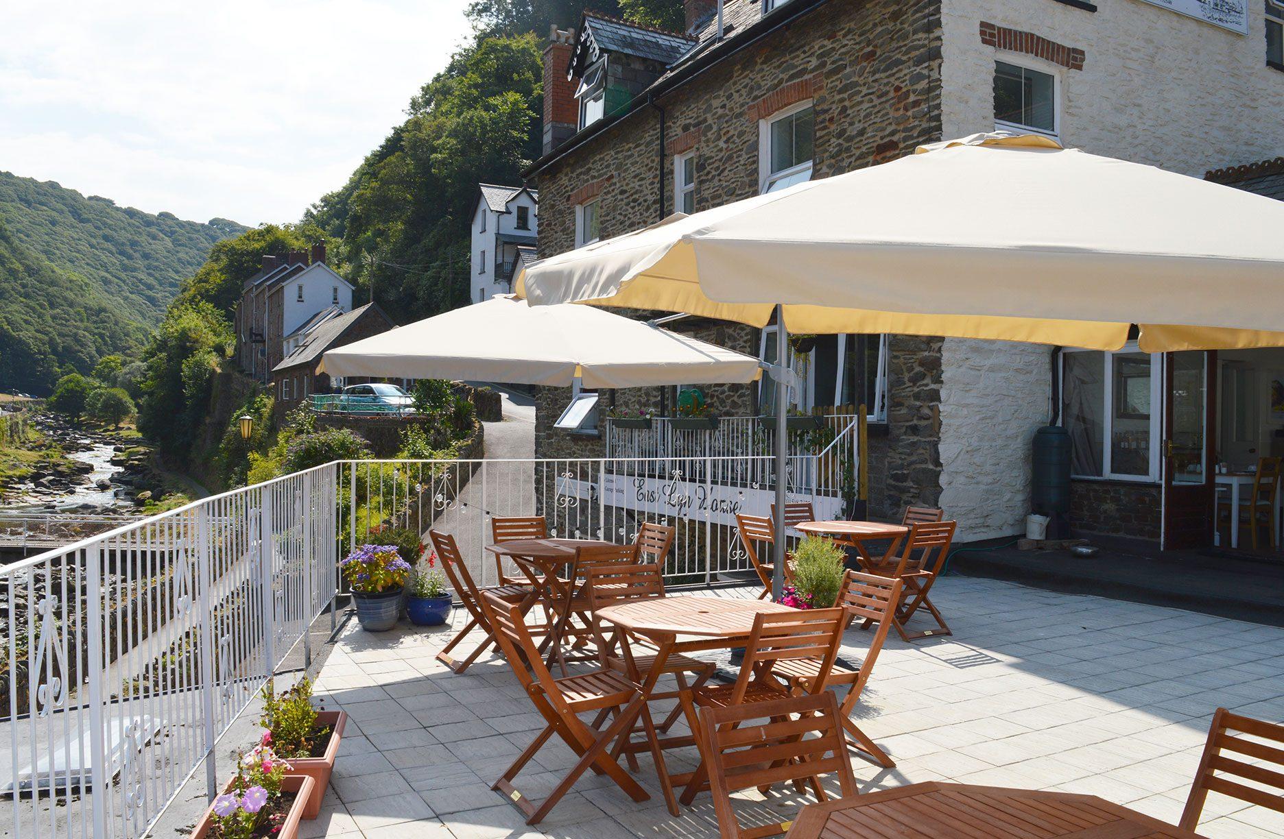 East Lyn House, Bed and Breakfast, riverside terrace