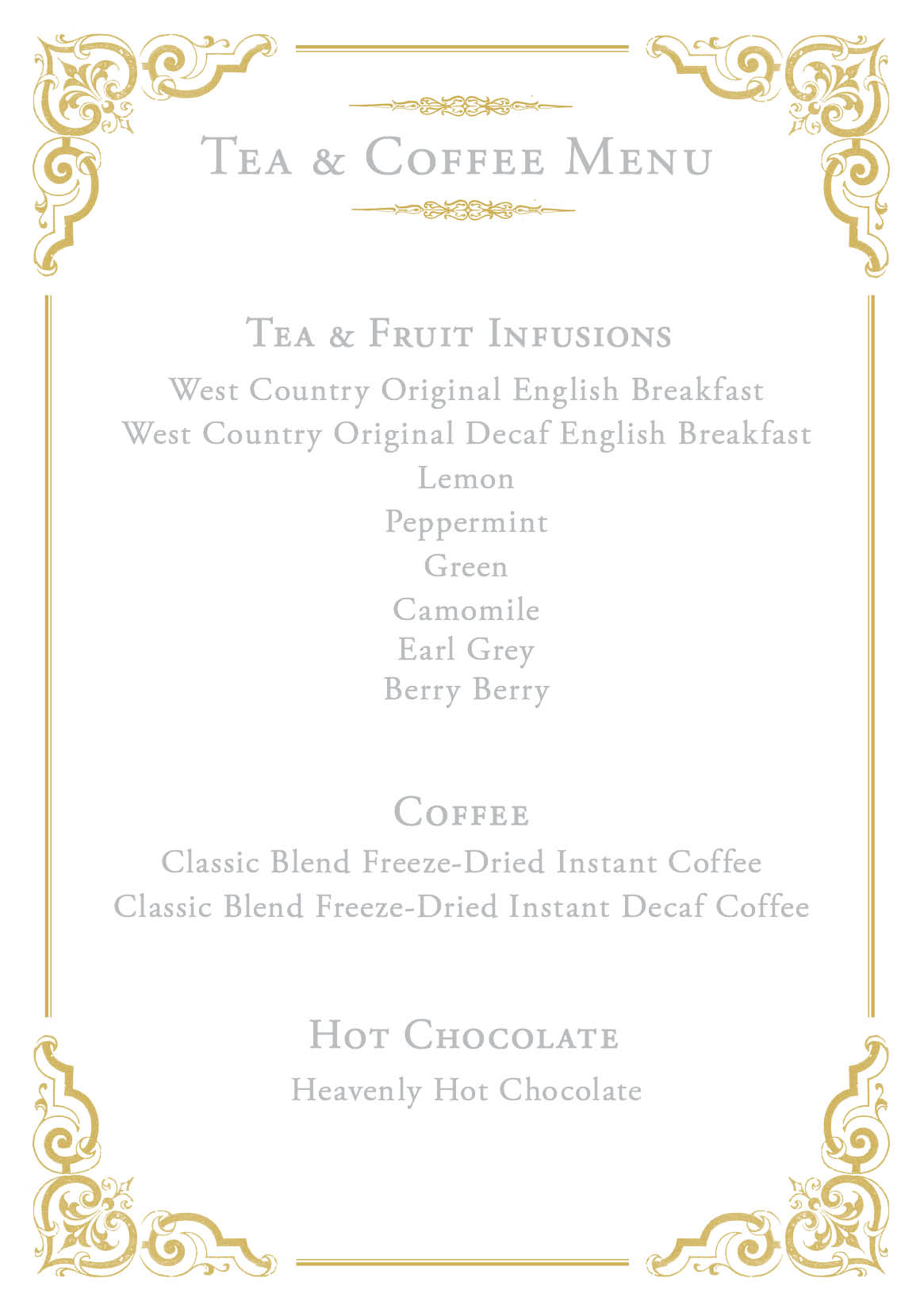 East Lyn House Tea and Coffee Menu
