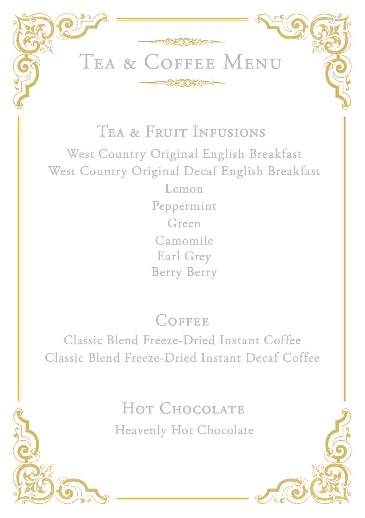 East Lyn House Tea and Coffee Menu