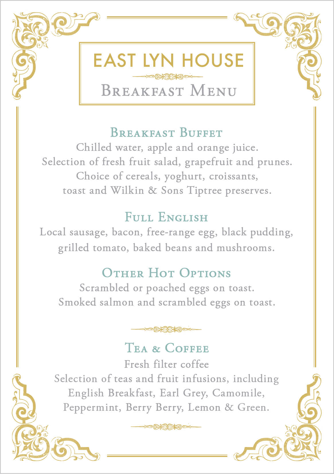 East Lyn House B&B breakfast menu
