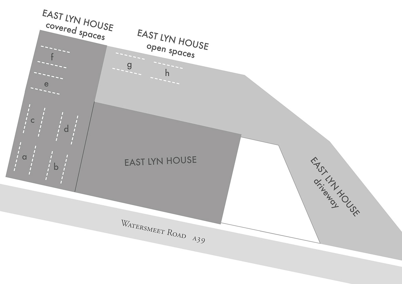 East lyn House,B&B car parking map